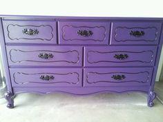 Refinished purple dresser