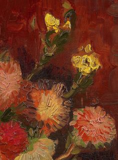 Details from Vase with Chinese Asters, Vincent van Gogh, 1886