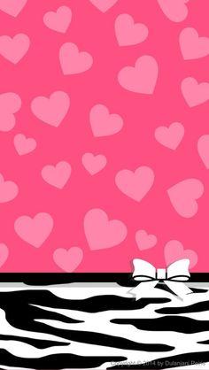 Pink Hearts Zebra Stripes Wallpaper