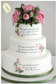 """Literary themed wedding cake with sugar roses and foliage and handpainted quote by Elizabeth Barrett Browning which reads """"I love you not only for what you are, but for what I am when I am with you. Beautiful Wedding Cakes, Gorgeous Cakes, Pretty Cakes, Amazing Cakes, Bolo Floral, Hand Painted Cakes, Themed Wedding Cakes, Wedding Cake Inspiration, Wedding Ideas"""
