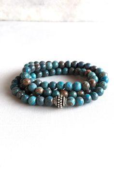 Blue Sky Jasper Wrap Bracelet or Long 108 Mala Bead Necklace, Round Stone Multi Wrap Stretch Bracelet