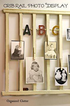 Re-Purposed Crib Rail Photo Display via OrganizedClutter.net