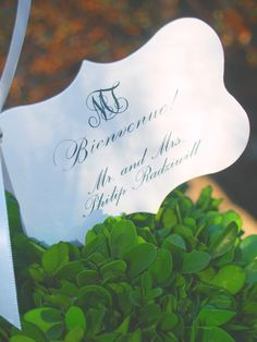 Hand-cut seating cards in topiaries.  Graceconnelldesigns.com
