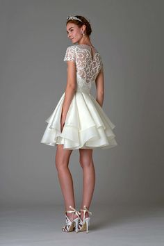 Dress 1 from Marchesa Bridal wedding dresses Fall 2016 - Cropped short, baby doll bridal dress with sheer lace embroidery - see the rest of the collection on www.onefabday.com