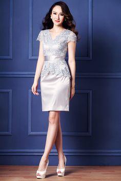 2015 summer middle-aged high-end boutique brand women's high-end big temperament summer white satin dress - Taobao