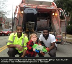 chibiprincessx:  this is SO CUTE like just imagine being those garbage men!!! I bet most people just ignore them or are rude to them and here's this lil kid who thinks they're the best thing since sliced bread ❤️❤️ amazing