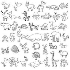 Animal doodle drawing, character animal wildlife, animal pelican cow camel and crocodile, fish and elk, fox and zebr. Baby Animal Drawings, Art Drawings For Kids, Doodle Drawings, Drawing For Kids, Doodle Art, Easy Drawings, Children Drawing, Tier Doodles, Doodle Characters