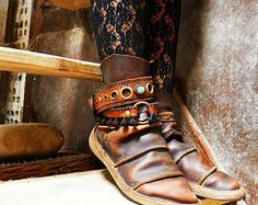 NEBULA - handmade leather boot bracelet cuff - pirate gypsy boot wrap -  steampunk cowgirl boot belt - leather boot jewelry decoration
