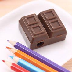Adorável Chocolate Criativo Apontador de Lápis de Plástico Com Borracha Para Crianças Material Escolar Papelaria Coreano Frete Grátis 484