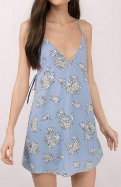 Women's V Neck Sleeveless Floral Printed Backless Mini Dress
