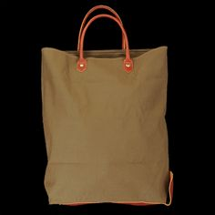 UNIONMADE - il bisonte - Convertible Tote Bag with Green Canvas in Cognac
