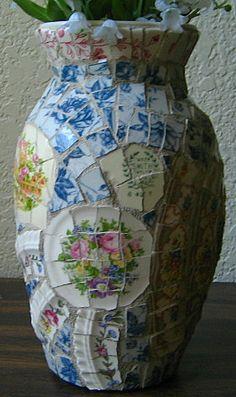 Broken vintage dish mosaic vase