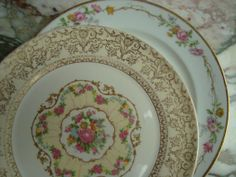 Shabby Chic Mismatched Set of Two Vintage Limoges Plates