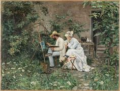 The painters Francesco Saverio Altamura and Jane Benham Hay in the garden English Artists, Garden Painting, Art Themes, Great Britain, 19th Century, Couple Photos, Illustration, Paintings, Easel