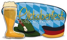 Beer Boot, Felt Hat and German Flag to Commemorate Oktoberfest, Vector Illustration — Stock Illustration Beer Boot, Felt Hat, Bavaria, Banner, Germany, Flag, Hats, Illustration, Oktoberfest