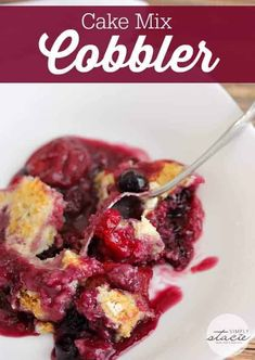 Cake Mix Cobbler - only three ingredients in this simple recipe - pop, cake mix and frozen fruit! The most simple fruit cobbler recipe ever – Cake Mix Cobbler! It's made with only three ingredients – cake mix, frozen fruit and pop! Recipes Using Cake Mix, Dump Cake Recipes, Fruit Recipes, Recipe Using, Dessert Recipes, Dump Cakes, Pureed Recipes, Bar Recipes, Recipe Recipe