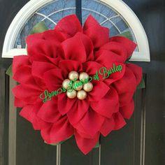 Poinsettia wreath Christmas wreath Christmas Flower wreath