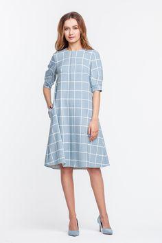 2327 Платье голубое в белую клетку с пышным рукавом и планкой купить в Украине, цена в каталоге интернет-магазина брендовой одежды Musthave