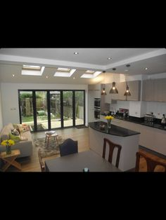 Open Plan Kitchen Living Room, Kitchen Sets, Kitchen Layout, Kitchen Design, Dining Room, Bungalow Extensions, House Extensions, Kitchen Extensions, House Extension Design