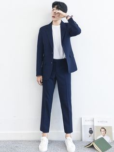 Blazer Outfits Men, Stylish Mens Outfits, Casual Outfits, Fashion Outfits, Korean Fashion Men, Mens Fashion, Man Dressing Style, Designer Suits For Men, Men Style Tips