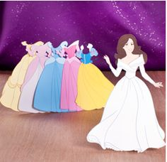 Disney Princess-Inspired ball gowns - free paper doll printable