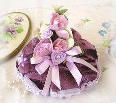 Handmade Pincushion Velvet Velour with Purple,Lavender, Lilac, Orchid, Soft Sculpture Lavender Plum Handcrafted CharlotteStyle Needlecraft