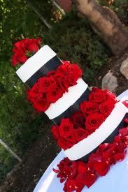 red and black weddings... like this but everywhere there is white have a sparkle white