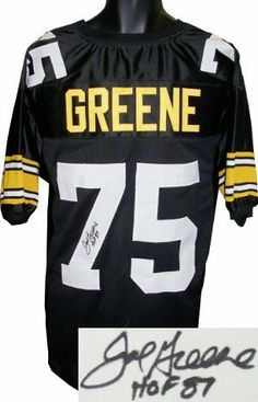 """Joe Greene signed Pittsburgh Steelers Black Prostyle Jersey HOF 87 . $283.86. Joe Greene, known as """"Mean Joe"""" Greene played for the Pittsburgh Steelers of the NFL. Throughout the early 1970s he was the most dominant defensive player in the National Football League. He is considered by many to be the greatest defensive lineman ever and was the cornerstone of the legendary """"Steel Curtain"""" defense. He is also a member of the Pro Football Hall of Fame and a four-time Super B..."""