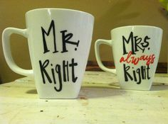 Mr. and Mrs. Always Right Handpainted Mug Set by RosieAndCozy, $14.00
