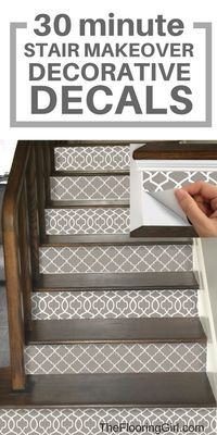 Love this idea. Easy DIY makeover for your steps. These decals are removable. Such a clever and simple solution. 12 Stunning Examples of Decorative Stair Riser Decals Diy Décoration, Easy Diy, Basement Steps, Basement Walls, Stair Stickers, Staircase Makeover, Staircase Remodel, Staircase Decals, Stair Decor