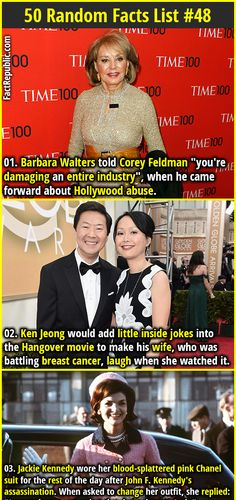 """1. Barbara Walters told Corey Feldman """"you're damaging an entire industry"""", when he came forward about Hollywood abuse. 2. Ken Jeong would add little inside jokes into the Hangover movie to make his wife, who was battling breast cancer, laugh when she watched it."""