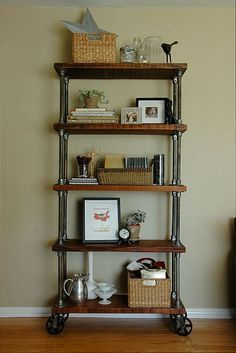 Whether you're going for a sophisticated, modern vibe or a homey, rustic appeal, industrial pipe shelves can be one way to accomplish both of these desired looks. Many people decide to build their own industrial pipe shelves that incorporate these aesthet Industrial Design Furniture, Diy Shelves, Furniture Diy, Furniture Projects, Chic Home Decor, Vintage Industrial Furniture, Home Furniture, Industrial Decor, Home Decor