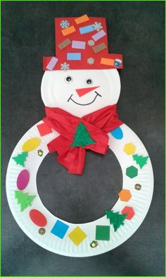 Snowman with a cardboard plate! - - Handwerk Snowman with a cardboard plate! Snowman with a cardboard plate! – Snowman with a cardboard plate! Kids Crafts, Daycare Crafts, Winter Crafts For Kids, Classroom Crafts, Preschool Crafts, Art For Kids, Craft Kids, Winter Ideas, Christmas Arts And Crafts
