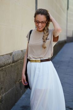 White maxi skirt with neutral brown top