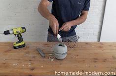 HomeMade Modern DIY EP37 Concrete Bowl Lamp Step 12