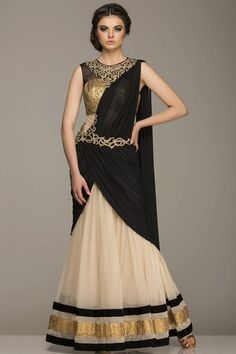 Beige draped anarkali with hand embroidery on the neck and waist line.The gota…