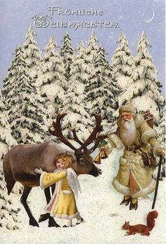 Santa with Angel & Reindeer Glittered Christmas Card ~ Germany Merry Christmas, German Christmas, Old Fashioned Christmas, Victorian Christmas, Christmas Angels, Christmas Greetings, Christmas Postcards, Father Christmas, Xmas