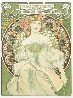 (after) Mucha, Season, Signed by the publisher Deschamps Lithograph, Imprimerie Mourlot, Paris.