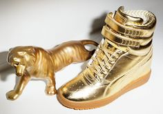 PUMA x Rime Luxe Sky Wedge #PUMA #PUMAstyle #gold #wedges #sneakers #limitededition
