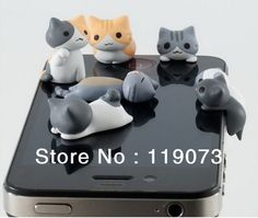 30 pcs 3D Mignon Chat en forme Écouteur jack bouchon anti-poussière pour iPhone, mobile téléphone