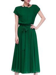 Chiffon Elegant Belted O-Neck Maxi Short Sleeve Dresses For Women