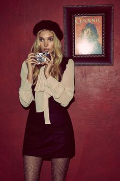 Elsa Hosk is Parisian Chic in For Love & Lemons' Holiday Looks - For Love & Lemons' holiday 2016 collection features the Belle Blouse and Madeline Overall Dress Source by hoettiweise - Parisienne Chic, Elsa Hosk, Winter Dress Outfits, Cute Outfits, Barett Outfit, Mode Purple, Overall Dress, Looks Style, Mode Inspiration