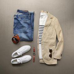 Phil Cohen's got style! A Men's fashion Summer state of mind, repost photo via @thepacman82 - T-Shirt: @grayers Breton Stripe Crew Denim: @alexmillny Japanese Selvedge Belt: @caputoandco Tan Slider Blazer: @clubmonaco Shoes: @commonprojects Watch: @toddsnyderny @timex @redwingheritage Custom sunglasses: @davidkind