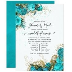 Vintage Turquoise and Gold Bridal Shower by Mail Invitation