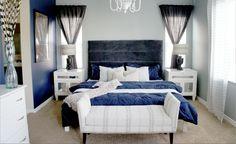 Cole Barnett: Navy Blue and Gray Master Bedroom Remodel Blue Master Bedroom, Blue Bedroom Walls, Pink Bedroom Decor, Master Bedroom Interior, Bedroom Ideas, Men Bedroom, Pretty Bedroom, White Bedroom, Bedroom Colors