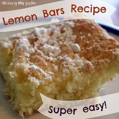 Lemon Bars - easy peasy, angel food cake mix and lemon pudding mix with some powdered sugar on top