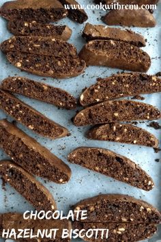 Chocolate Hazelnut Biscotti - are loaded with hazelnuts and have a deep chocolate flavour. They are twice-baked, making them perfect as Cupboard and Travel Snacks. Chocolate Snacks, Chocolate Flavors, Chocolate Recipes, Chocolate Hazelnut Cookies, Biscotti Cookies, Yummy Cookies, Almond Cookies, Bar Cookies, Hazelnut Recipes