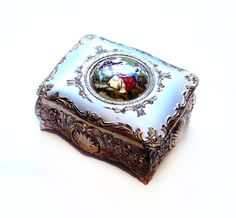 Vintage Trinket Box Shabby Metal Ceramic by VintagePennyLane