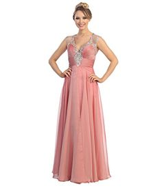 Rose Chiffon Rhinestone Mesh Cap Sleeve Gown 2015 Prom Dresses ** Check  this awesome product