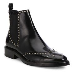 Burberry Bactonul Studded Leather Brogue Chelsea Boots (2.420 BRL) ❤ liked on Polyvore featuring shoes, boots, ankle booties, ankle-boots, black, black leather boots, faux-leather boots, leather chelsea boots, black bootie and short black boots